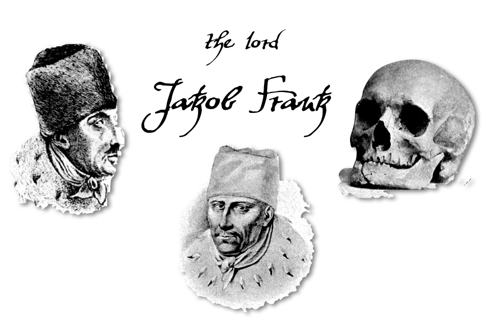 Two portraits of Jakob Frank and a photo of his skull as excavated from his grave in Offenbach