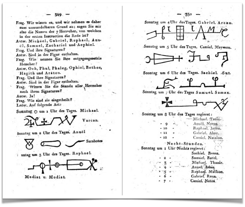 Angelic names, seals and planetary hours as shared in the third Grade of the order of the Asiatic Brethren (  anonymous, 1803) - click to enlarge