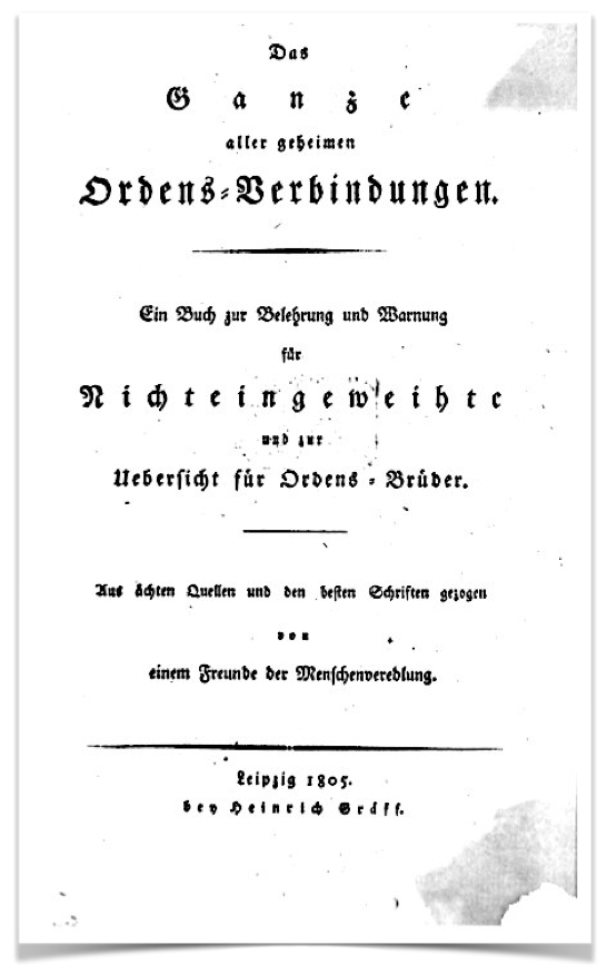 cover page of the first book that contained an official history of the AB, Leipzig 1805, published anonymously by August Siegfried von Goue - click to enlarge