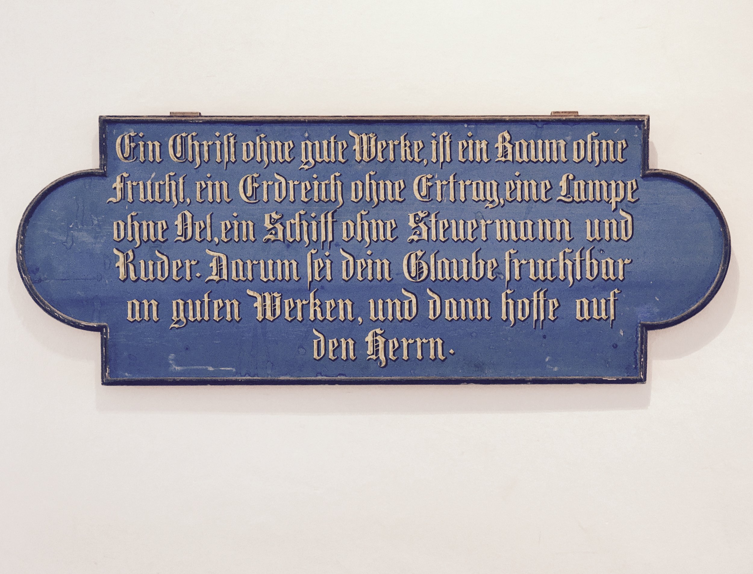 Psalms and Bible quotes displayed throughout the abbey