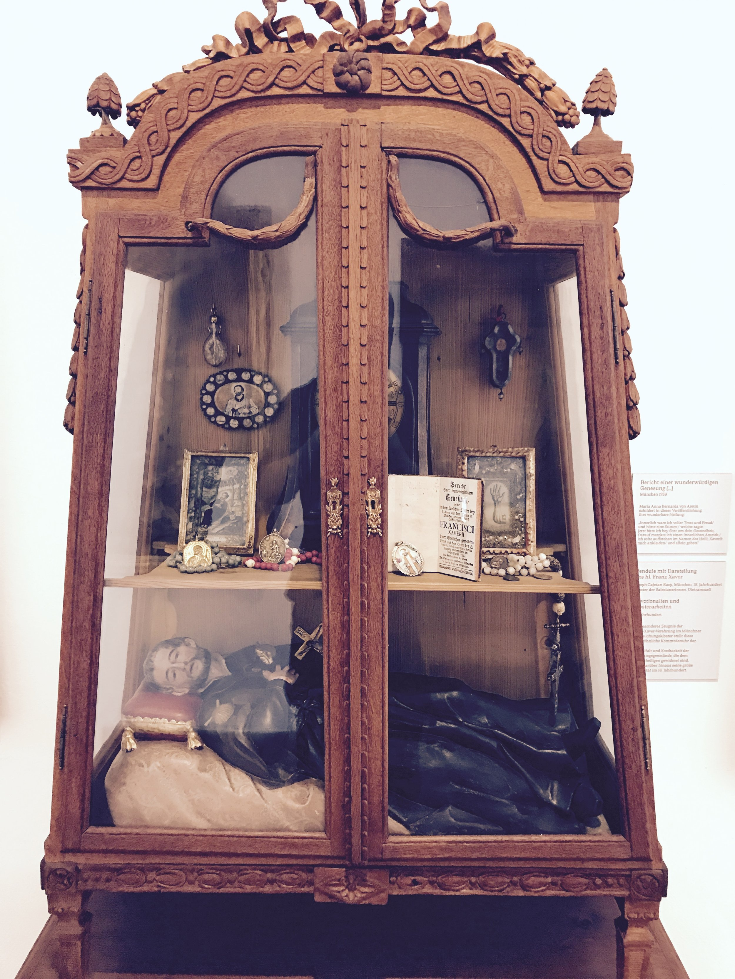A curious display case of relics