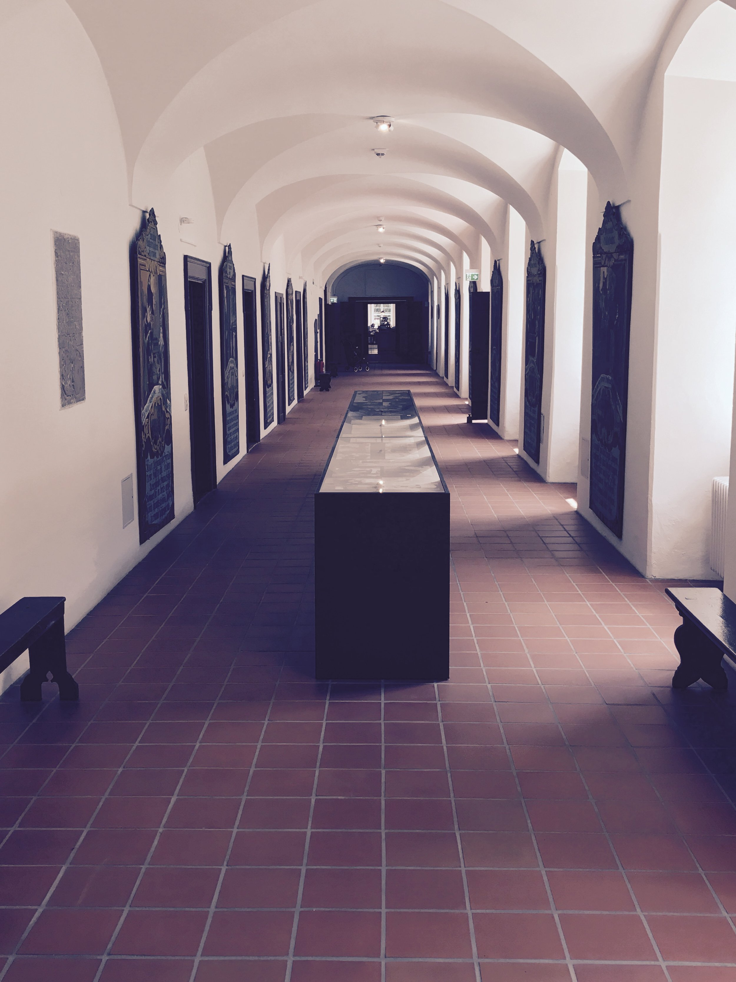 one of the long hall-ways surrounding the inner courtyard