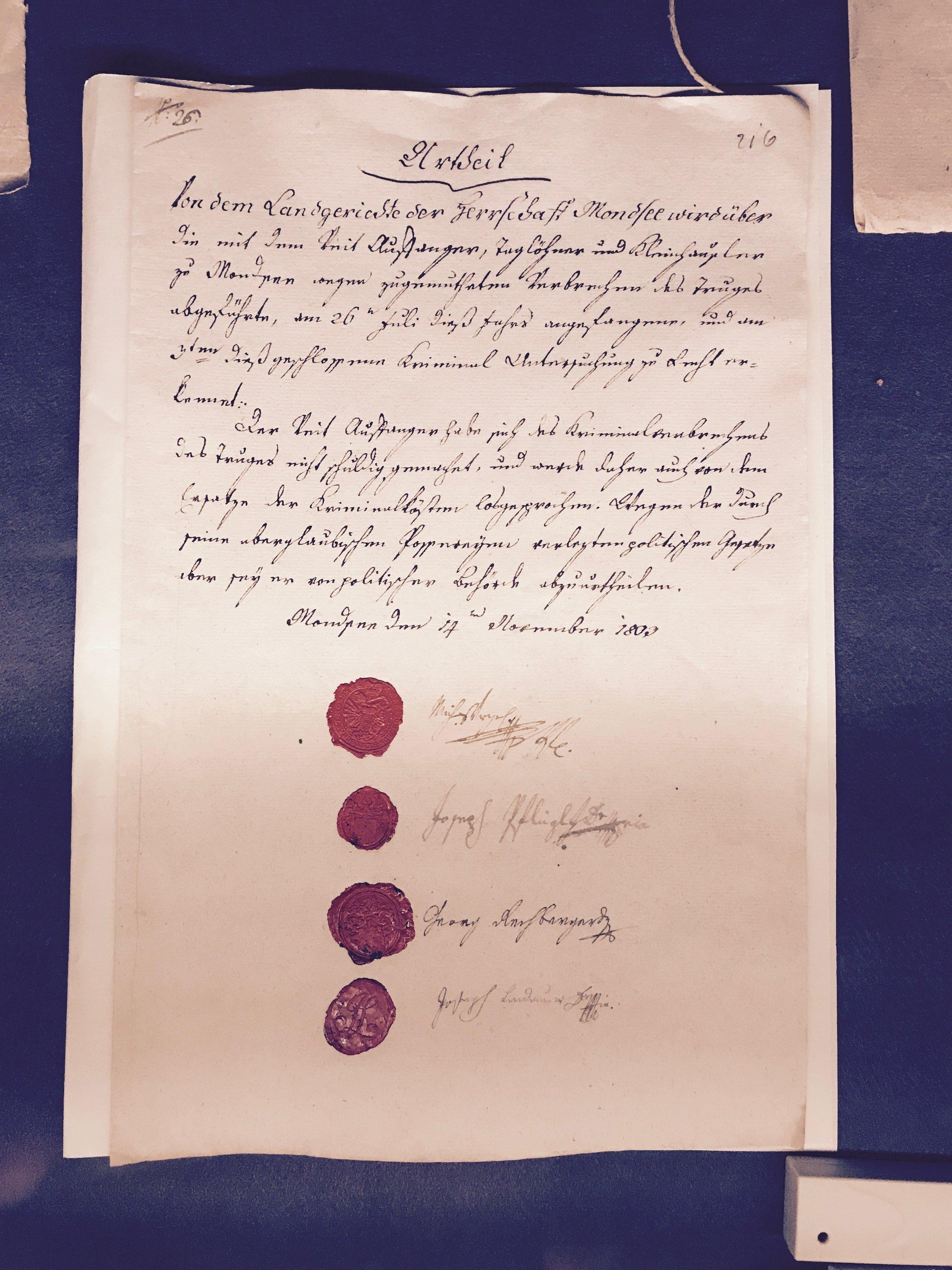official 1803 verdict in a lawsuit against folk-magic