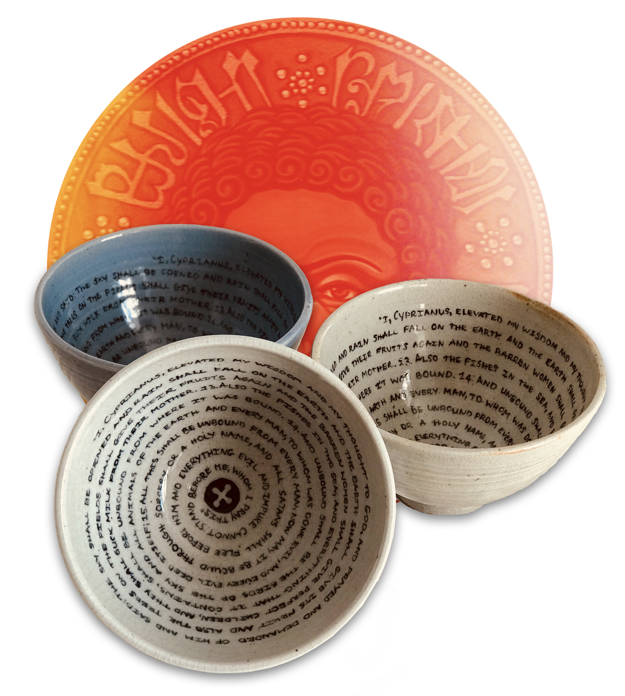 Cyprian's Incantation Bowl - Features excerpt of the 'Oratio Cypriana', entirely hand-crafted on order, each one of a kind, available in three colours, shipping now worldwide