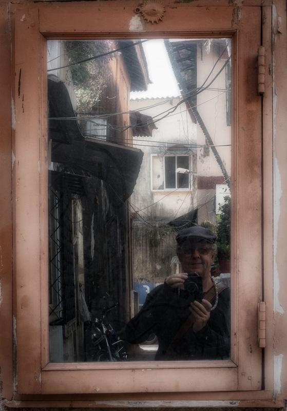 2017 Selfie taken in an alley in Bandra reflected in a mirror