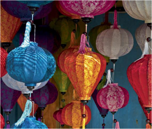 Fancy and colorful lanterns can be found anywhere