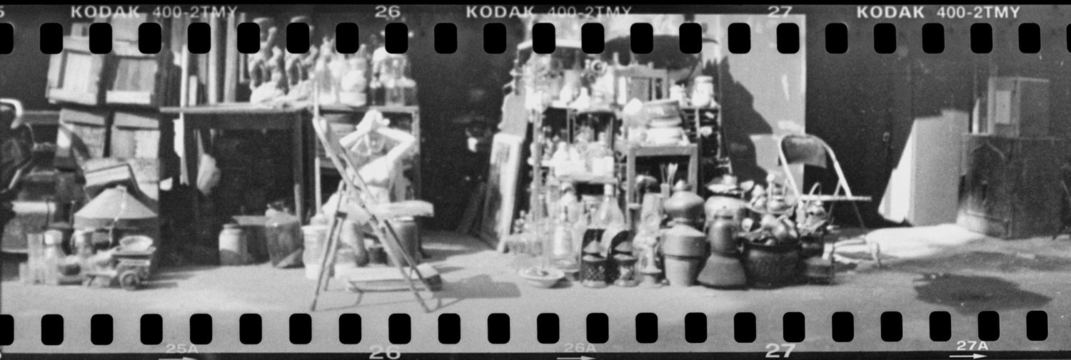 Middle format camera loaded with 35mmm film