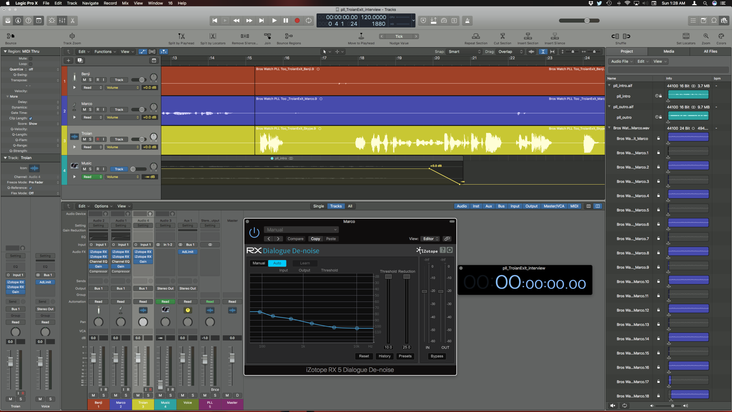 What a podcast episode looks like in Logic Pro X. Isn't Troian great?