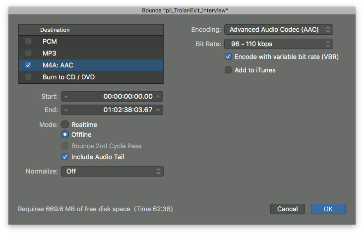 Bounce settings for the podcast in Logic Pro X.
