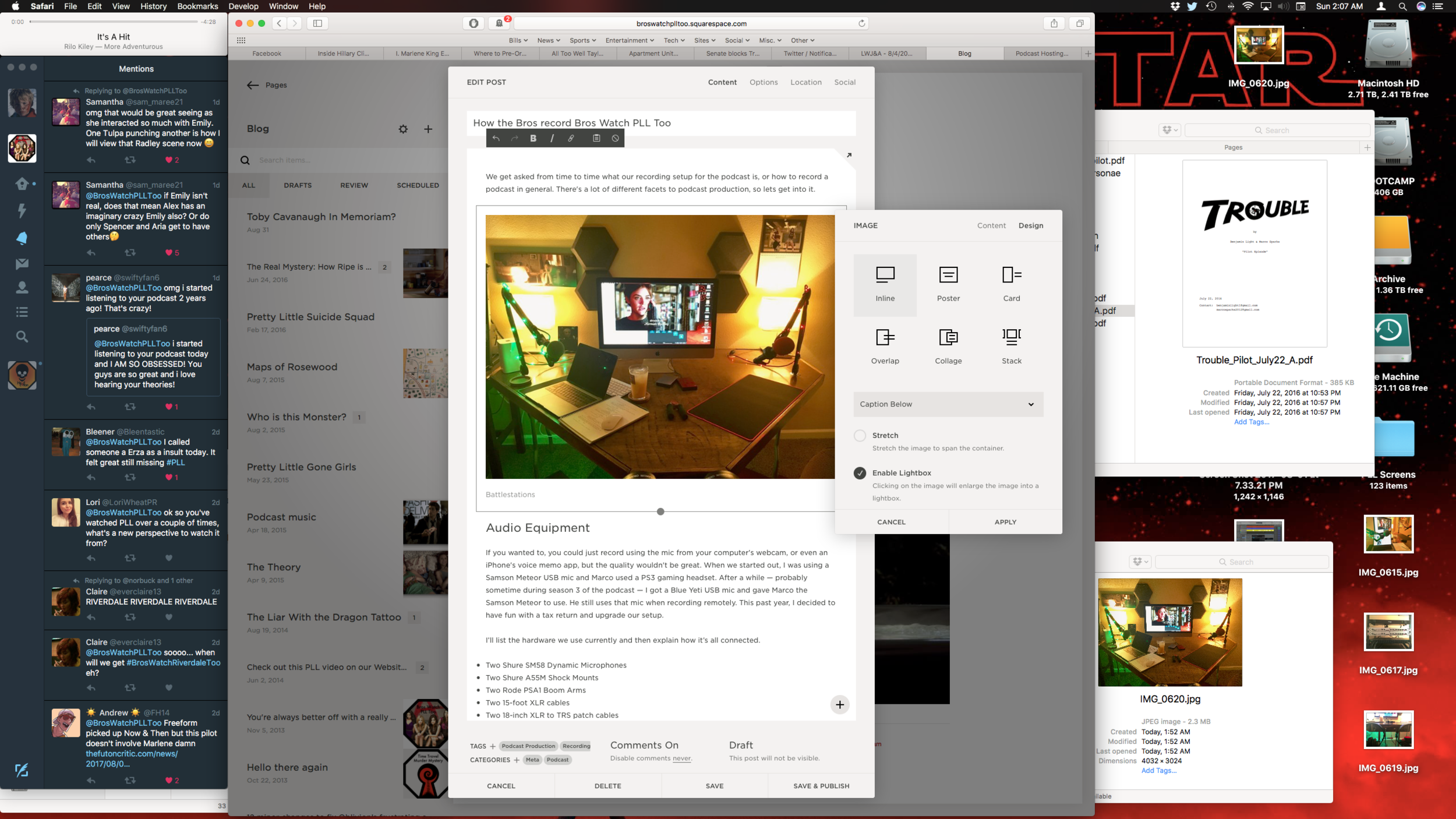 The Squarespace interface.