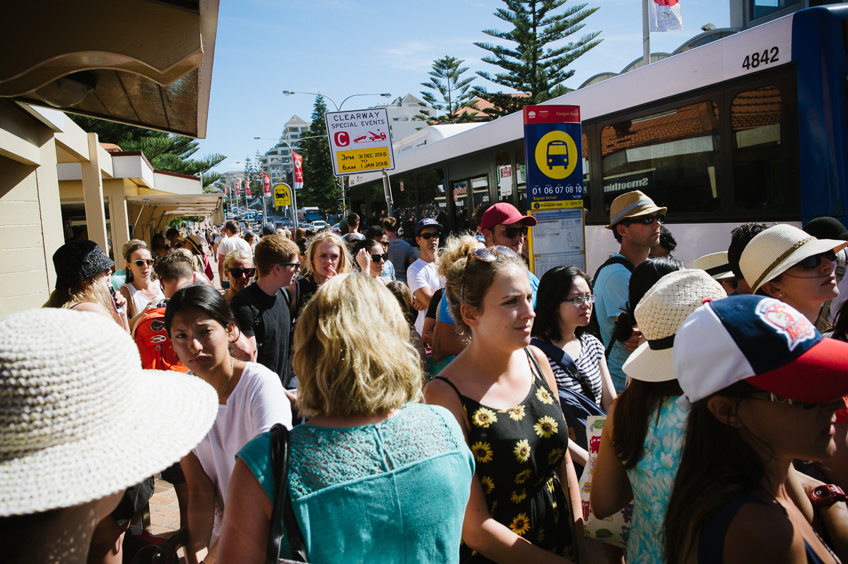 New years day puts a big strain on public transport as more people want to get to the beach, but there are less services.