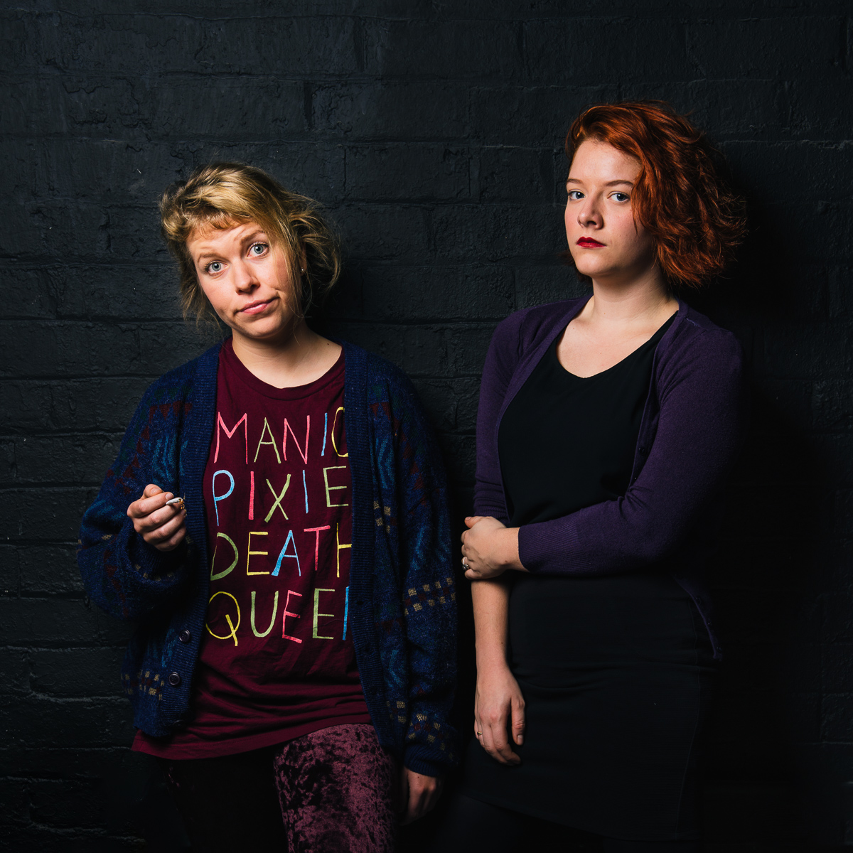 Poster shot for the play featuring actors Madeline Clouston and Camilla Turnbull.