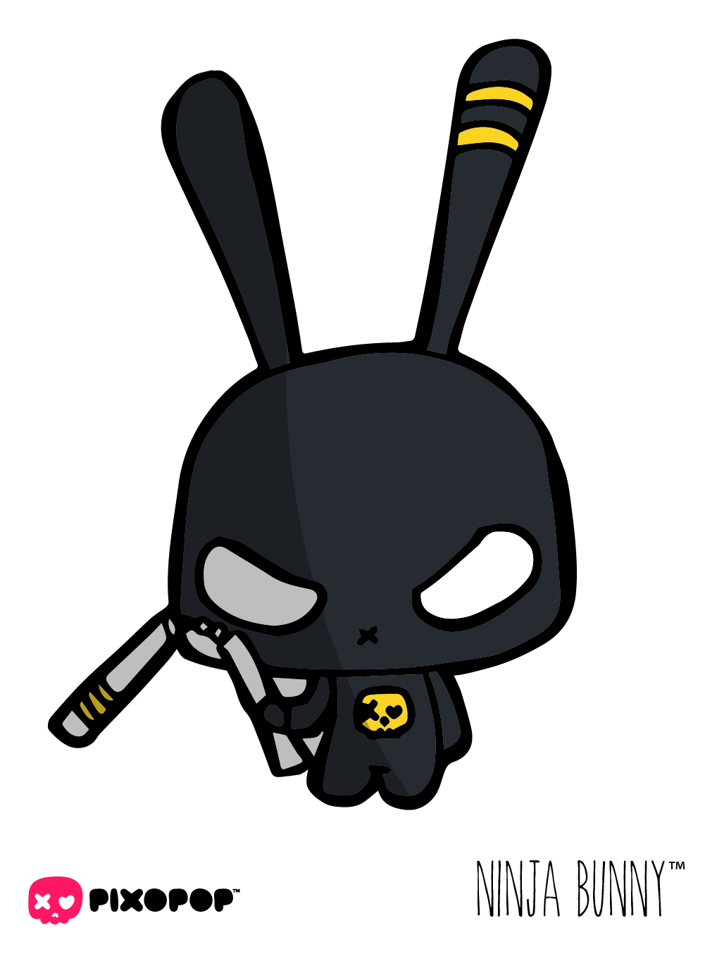 ninjabunny is the dark side of stitch. When things go sour, ninjabunny pops out of nowhere and comes to save the day. He is very agile and can transform the bad guys into frantic little raccoons. Ninjabunny is also very serious. There is not fooling around with him. As soon as the action is over, he's gone; he means business.