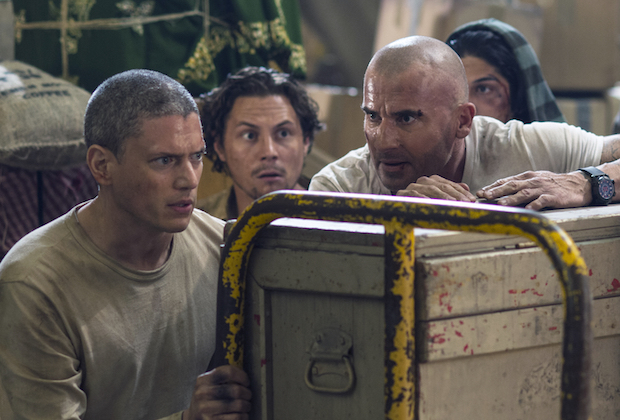 """PRISON BREAK: L-R: Wentowrth Miller, Augustus Prew and Dominic Purcell in the all-new """"Contingency"""" episode of PRISON BREAK airing Tuesday, May 2 (9:00-10:00 PM ET/PT) on FOX. CR: FOX. © 2017 FOX Broadcasting Co."""