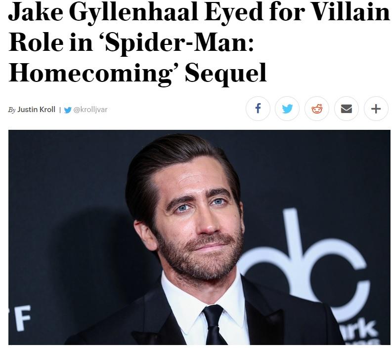 """בתמונה - דיווח האתר """"וריאטי"""" על כך שהשחקן ג'ייק ג'ילנהול על הכוונת של מארוול לתפקיד עתידי של מיסטיריו. האתר נחשב לאחד המקורות האמינים ביותר בתעשייה."""
