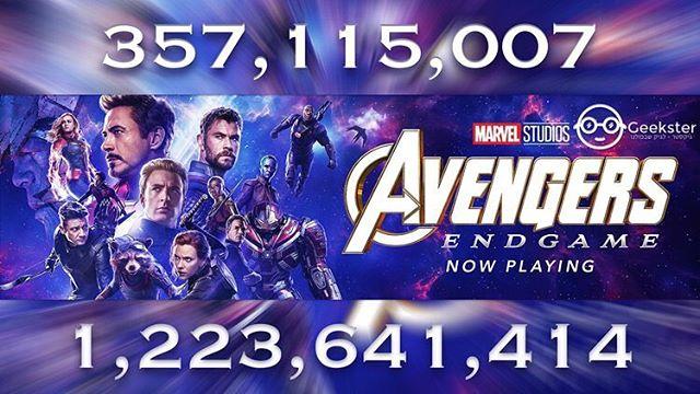 357,115,007 US, 1,223,641,414 worldwide.  Wow.... #avengersendgame #endgame #boxoffice #mcu #marvel @marvel @marvelstudios @avengers @therussobrothers @disneystudios @yesplanetil @hotcinema @cinemacityisrael @disney