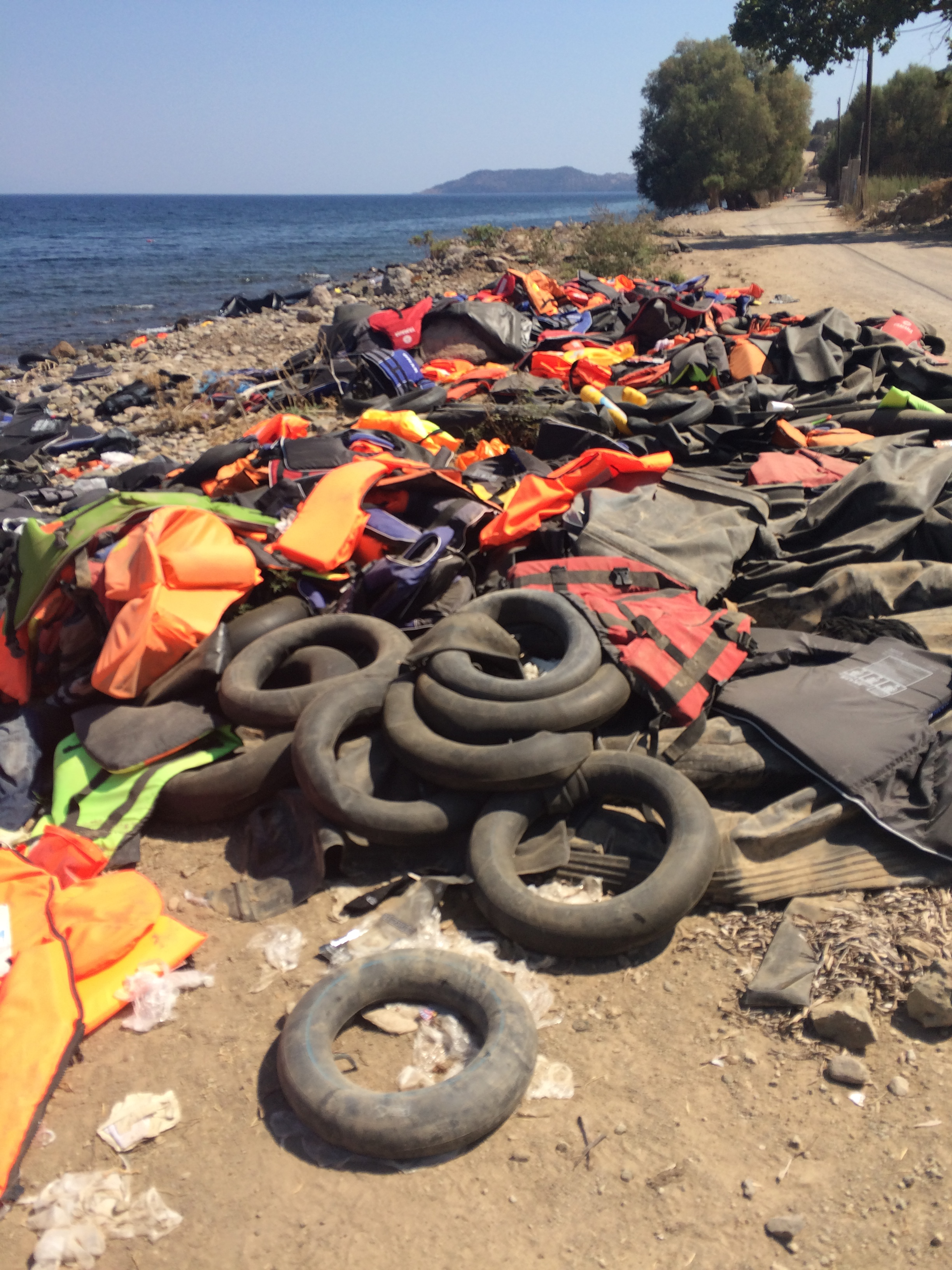 What is being left behind on the beaches. Most of the water sports life jackets & proper life jackets are brand new. Inner tires are being sold to the refugees as life preservers - horrifying.