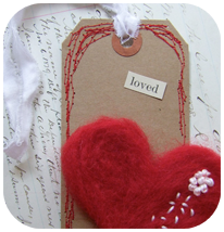 Felted Heart Tags