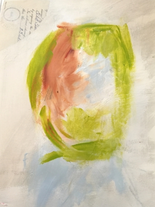 Finger paint acrylic to the page to create the general shape of the face.
