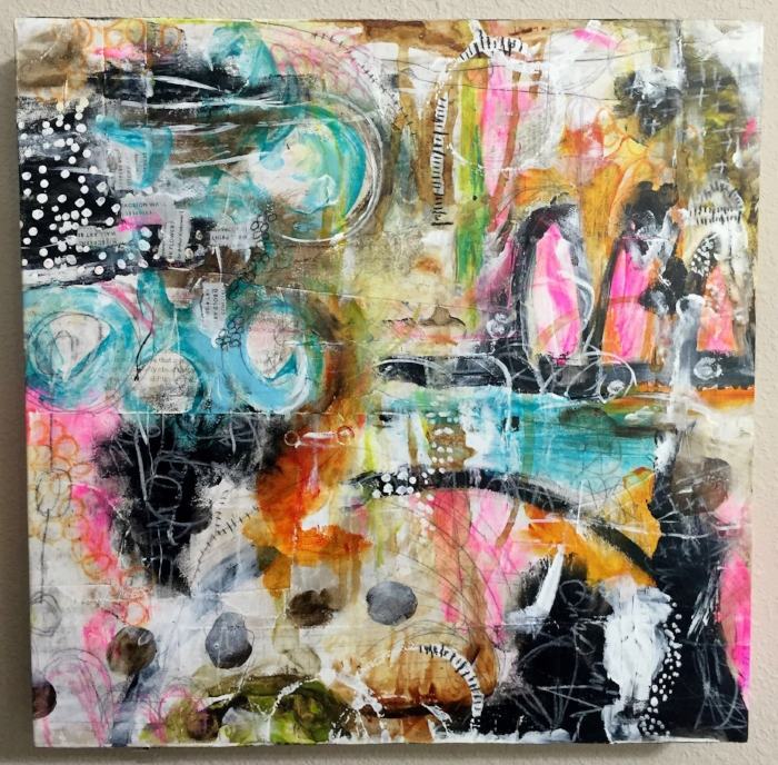 "MILES AWAY Mixed media wall art - 12"" x 12"" on cradled art board by @robenmarie #art #mixedmedia #painting"