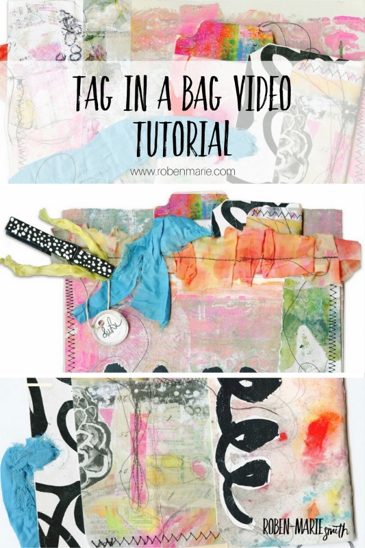 Tag in a Bag Video Tutorial with Roben-Marie Smith. Join @robenmarie as she walks you through this easy and fun tutorial as part of her #playingtagartchallenge. #diy #mixedmedia #tagart