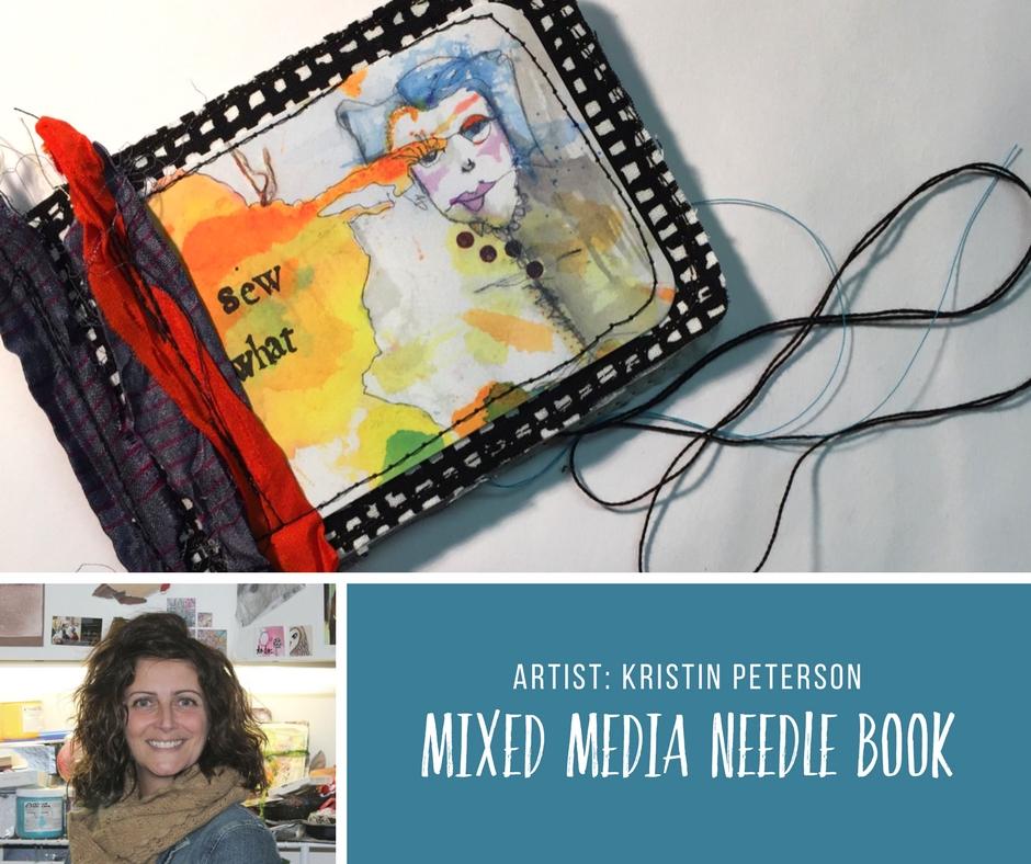 Mixed Media Needle Book Tutorial with artist Kristin Peterson using Woodland Fairies Art Pop™ Cards. #robenmarie #artpops #kristinpeterson #diy #fabricart