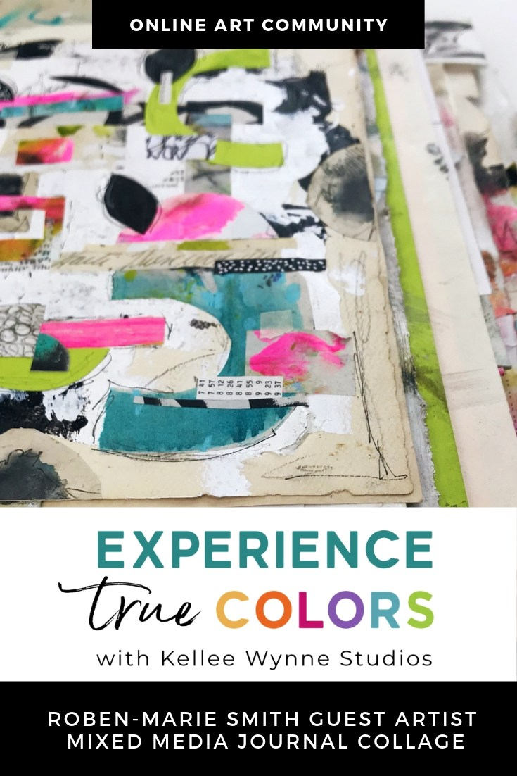 The True Colors Art Program™ with Kellee Wynne Studios provides a unique subscription-based membership for artists that delivers quality content, inspiring lessons and a supportive community on a weekly schedule. Guest artist Roben-Marie Smith Smith teaches collage and mixed media art journaling. #artjournaling #mixedmedia
