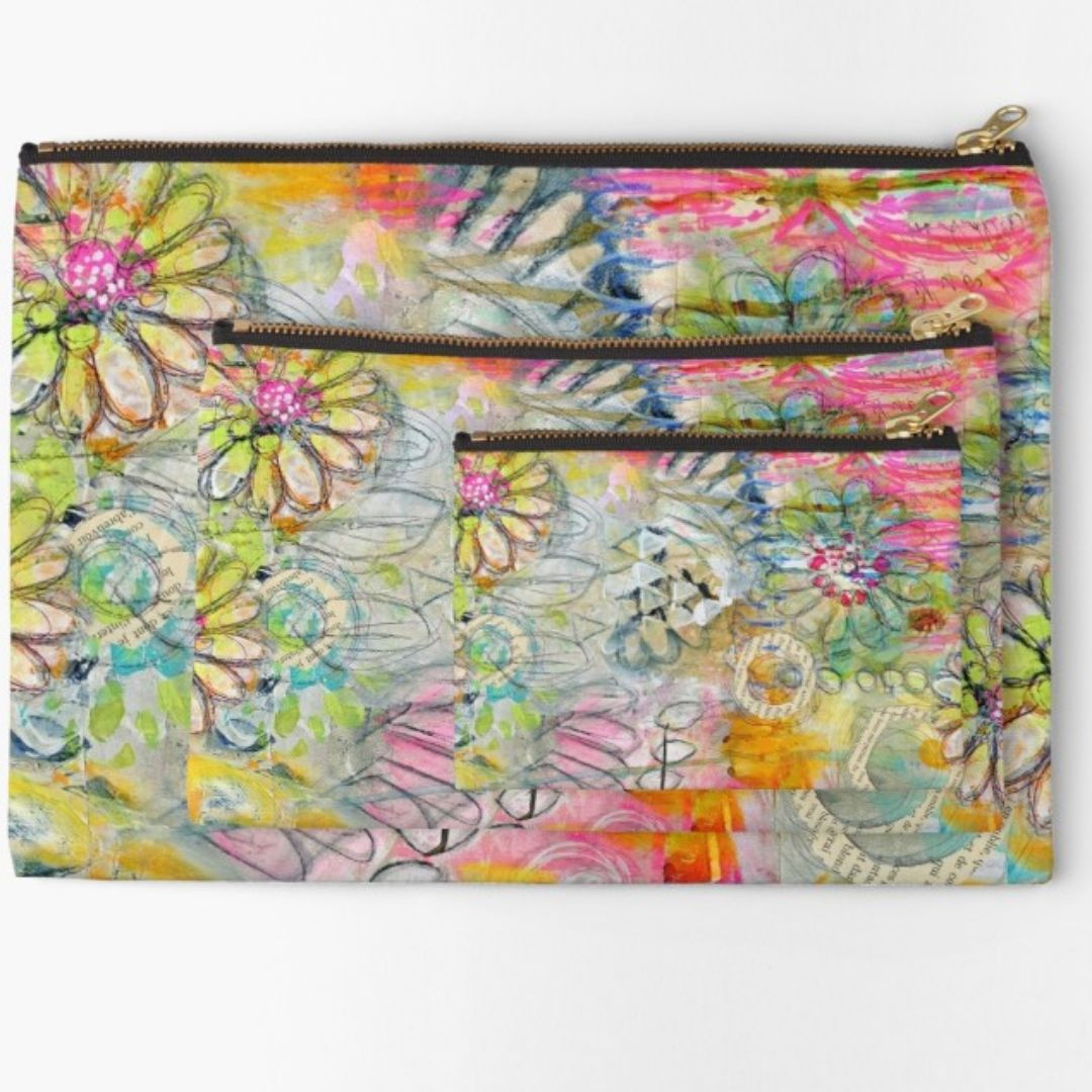 In the garden zipper pouches - Small, Medium and Large