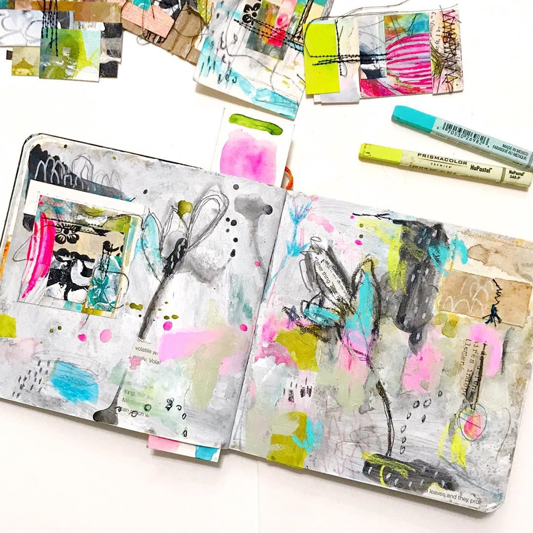 Mixed media art journal by Roben-Marie Smith. Colorful and layered art journal made with scraps of paper, paint, pastels and watercolor mediums. #robenmarie #mixedmedia #visualjournals