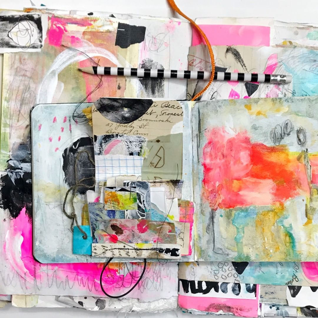 Mixed media art journal by Roben-Marie Smith. Colorful and layered art journal made with scraps of paper, paint and watercolor mediums. #robenmarie #mixedmedia #visualjournals