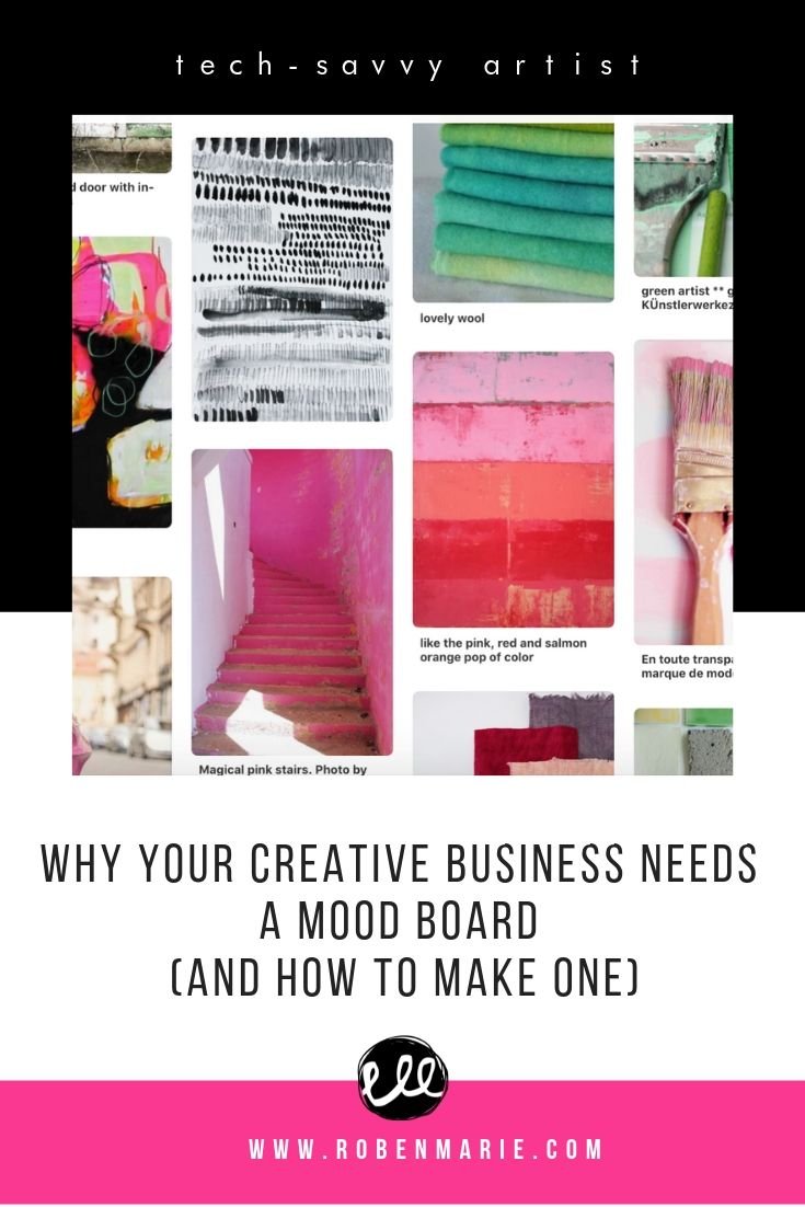 Why your creative business needs a mood board and how to make one article by Roben-Marie Smith. What is a mood board and how do you make one? What is branding and how does it fit into your online presence? #robenmarie #moodboard #branding