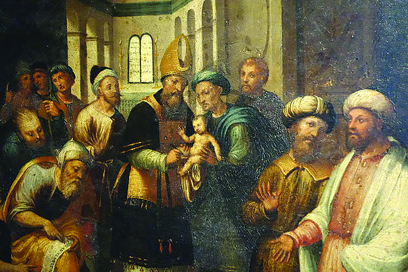 Zechariah, the father of John the Baptist, holds his infant prophet son in this 1535 work of Teramo Piaggio.