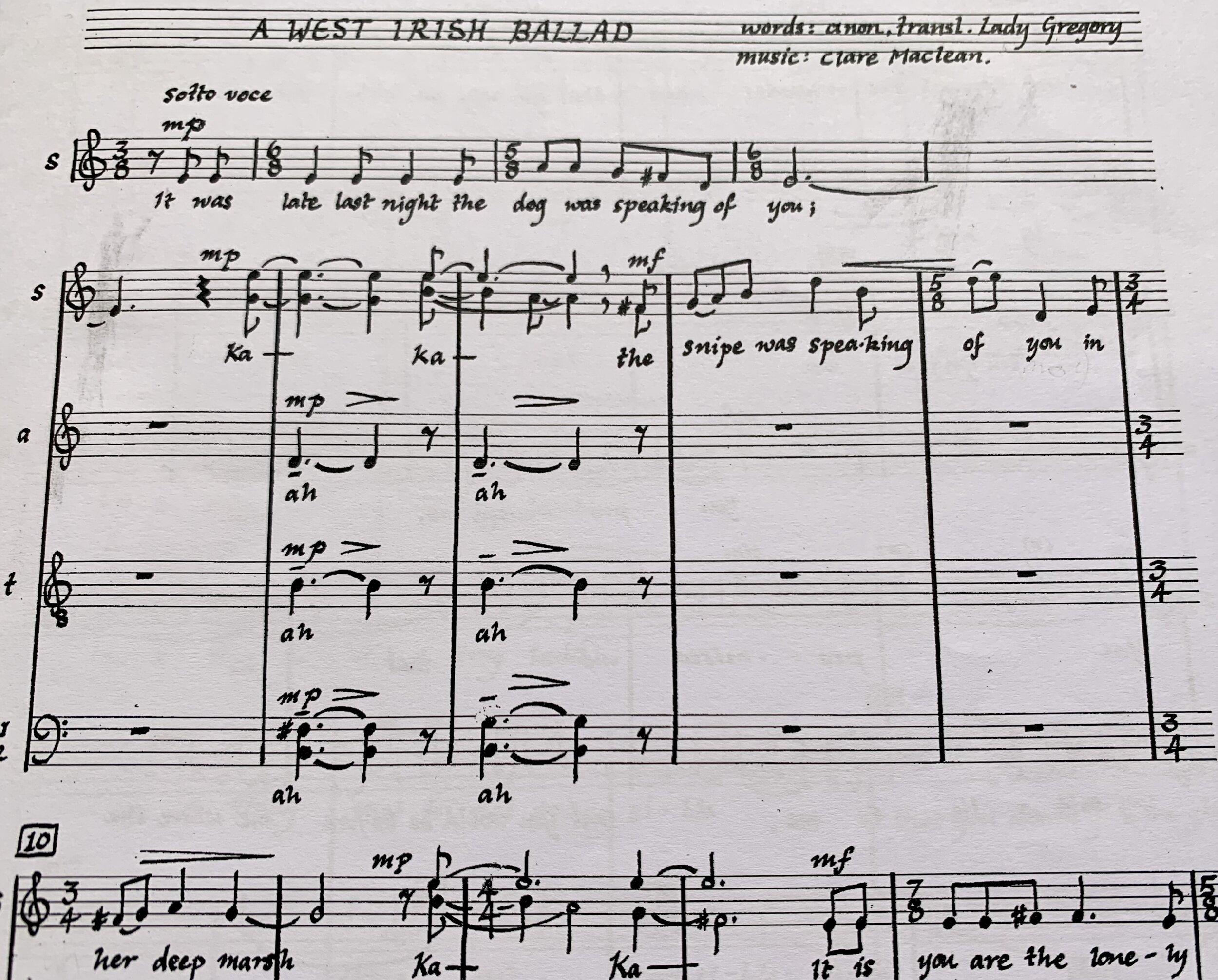"Sydney Chamber Choir sings from Clare Maclean's handwritten score of ""A West Irish Ballad""."