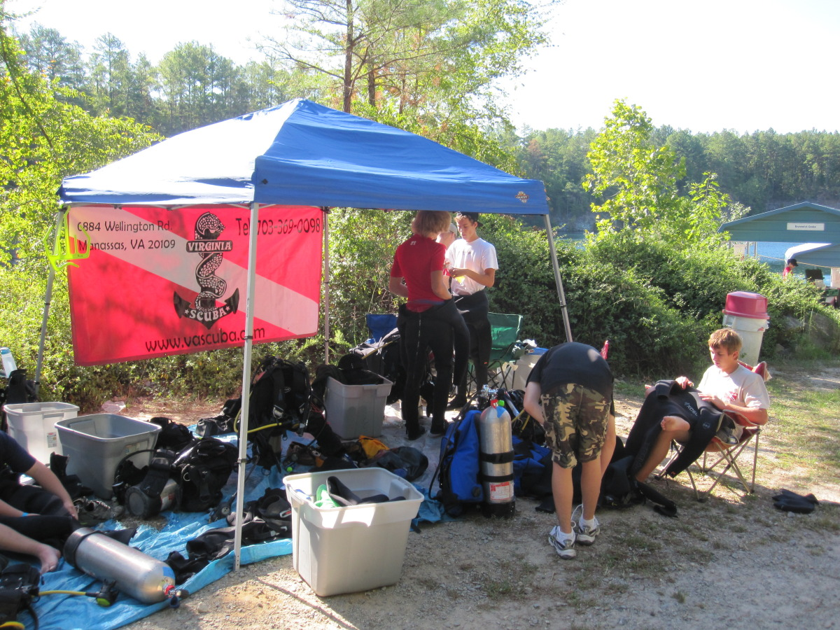 Our dive base, flying the Virginia Scuba Banner