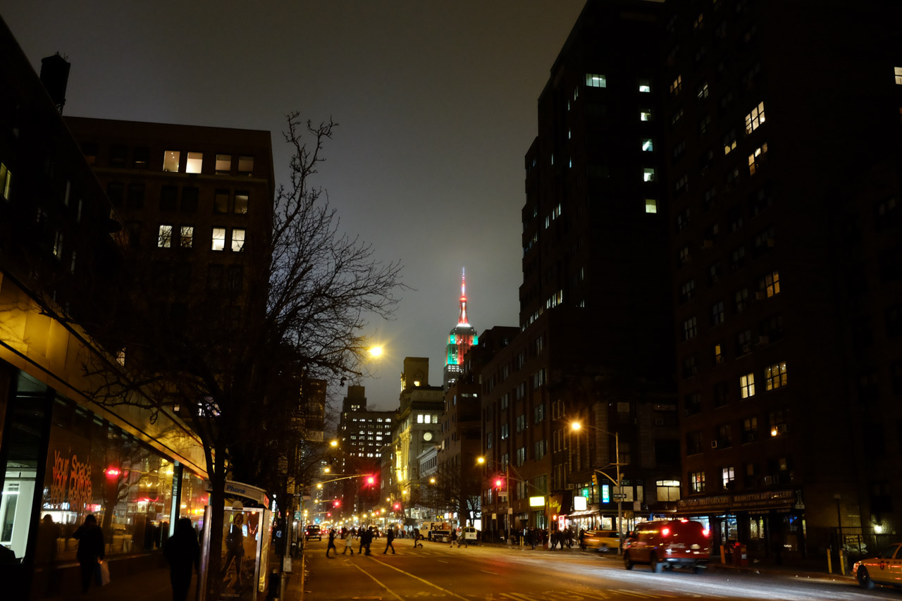 The ESB, as seen from 7th Ave. Straight out of the camera.