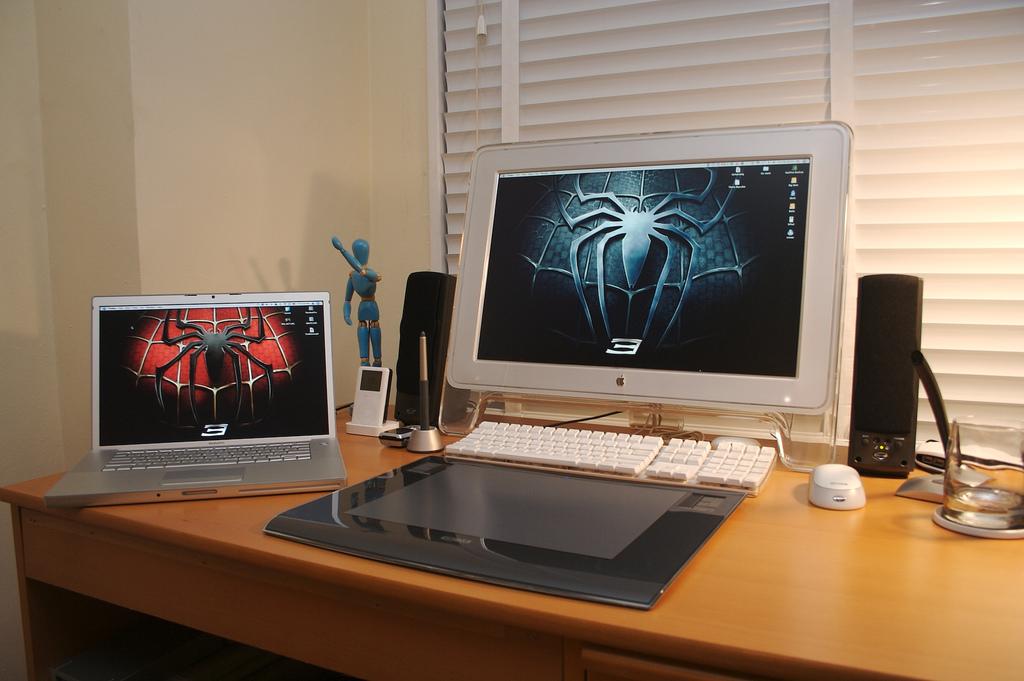 My setup, circa 2007. MacBook Pro and G5 Tower.