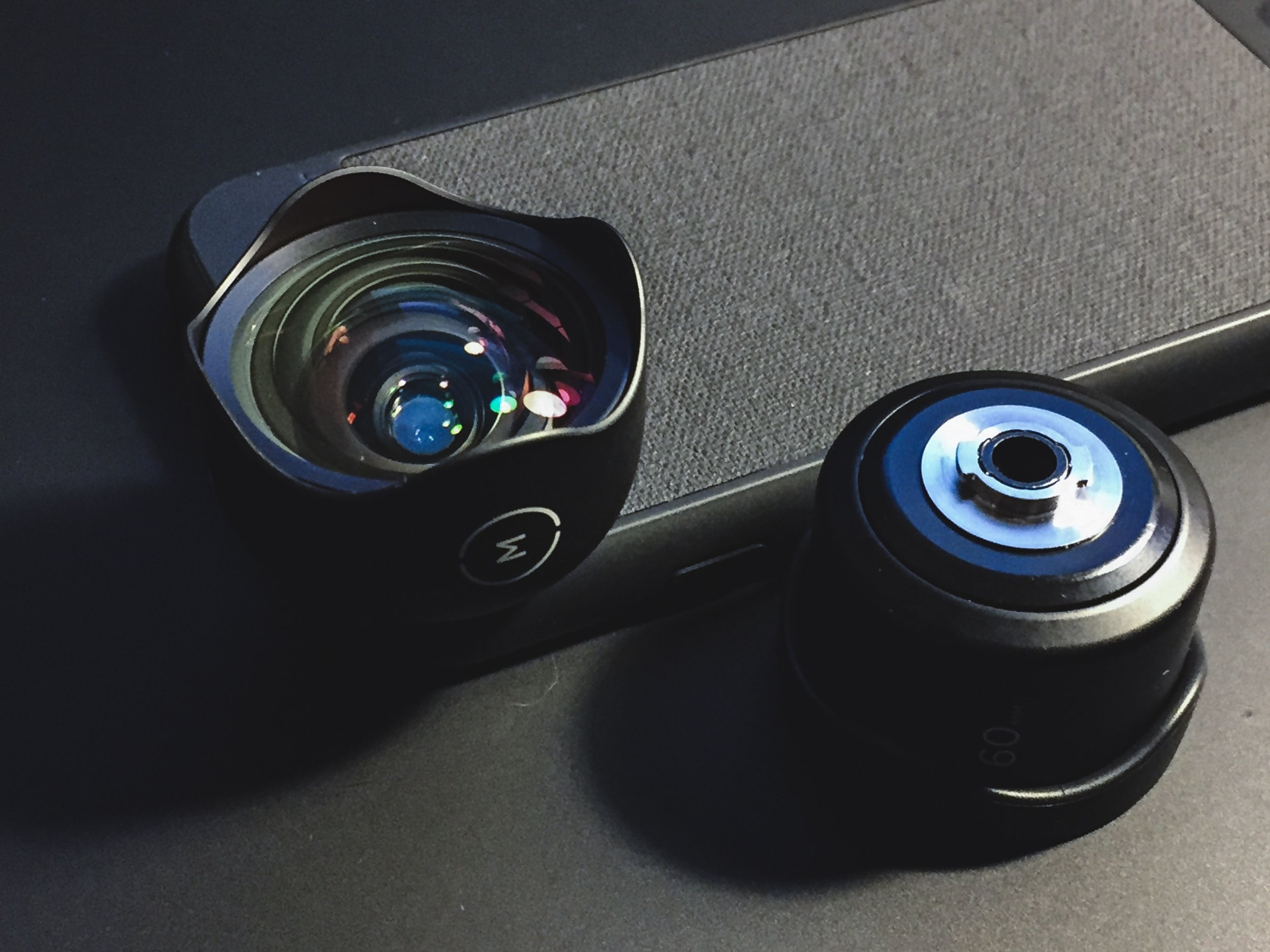 Moment Photo Case, Moment Wide Lens (V2) and Moment Tele (V1 with adapter)