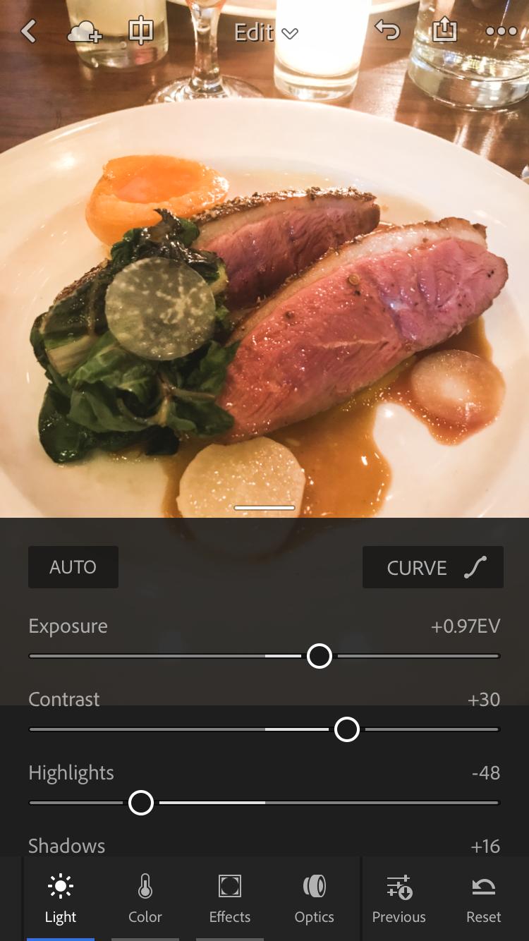 Lightroom Mobile's interface