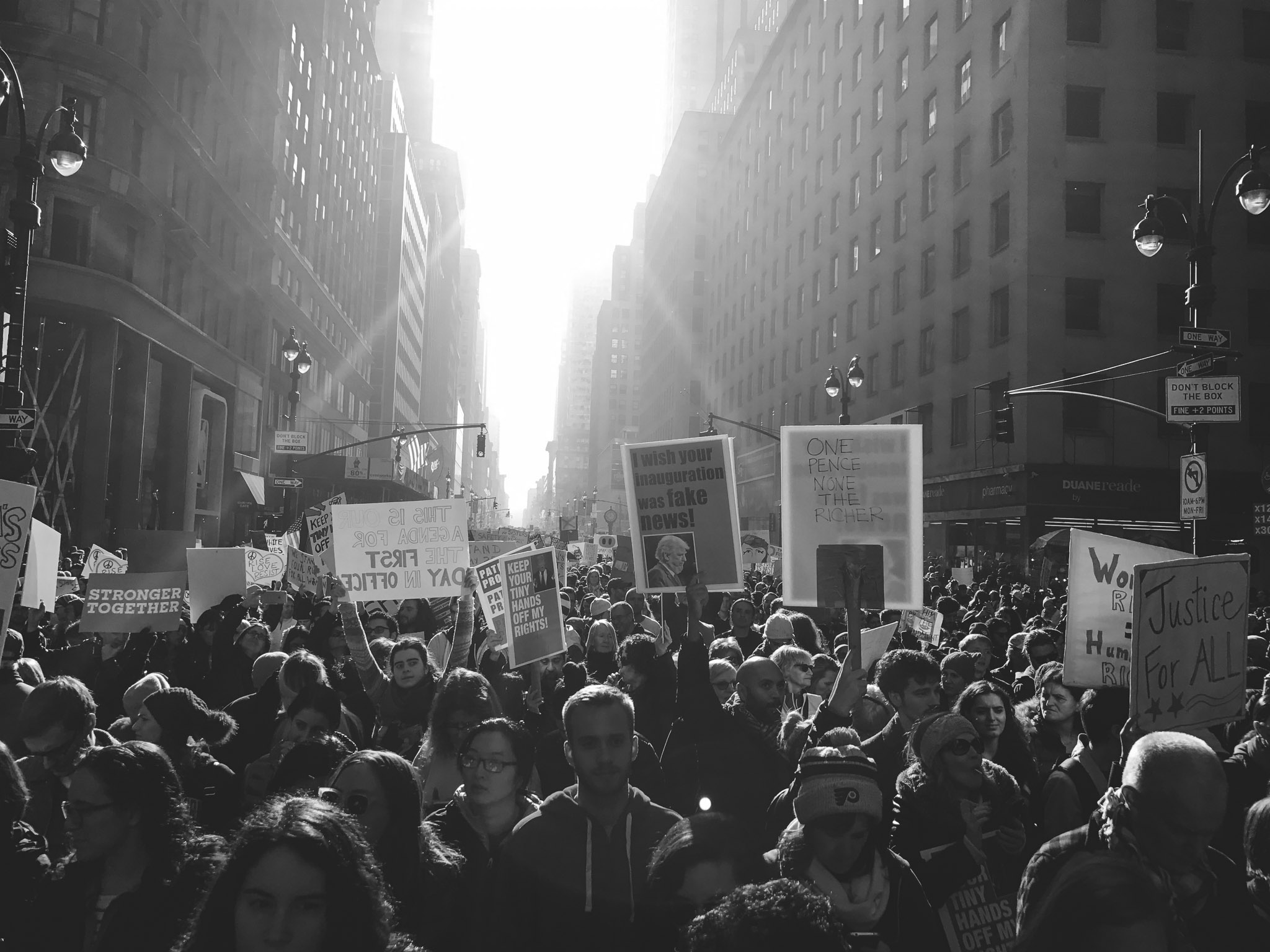 New Yorkers march in protest of President Donald J. Trump's inauguration at the NYC Women's March.