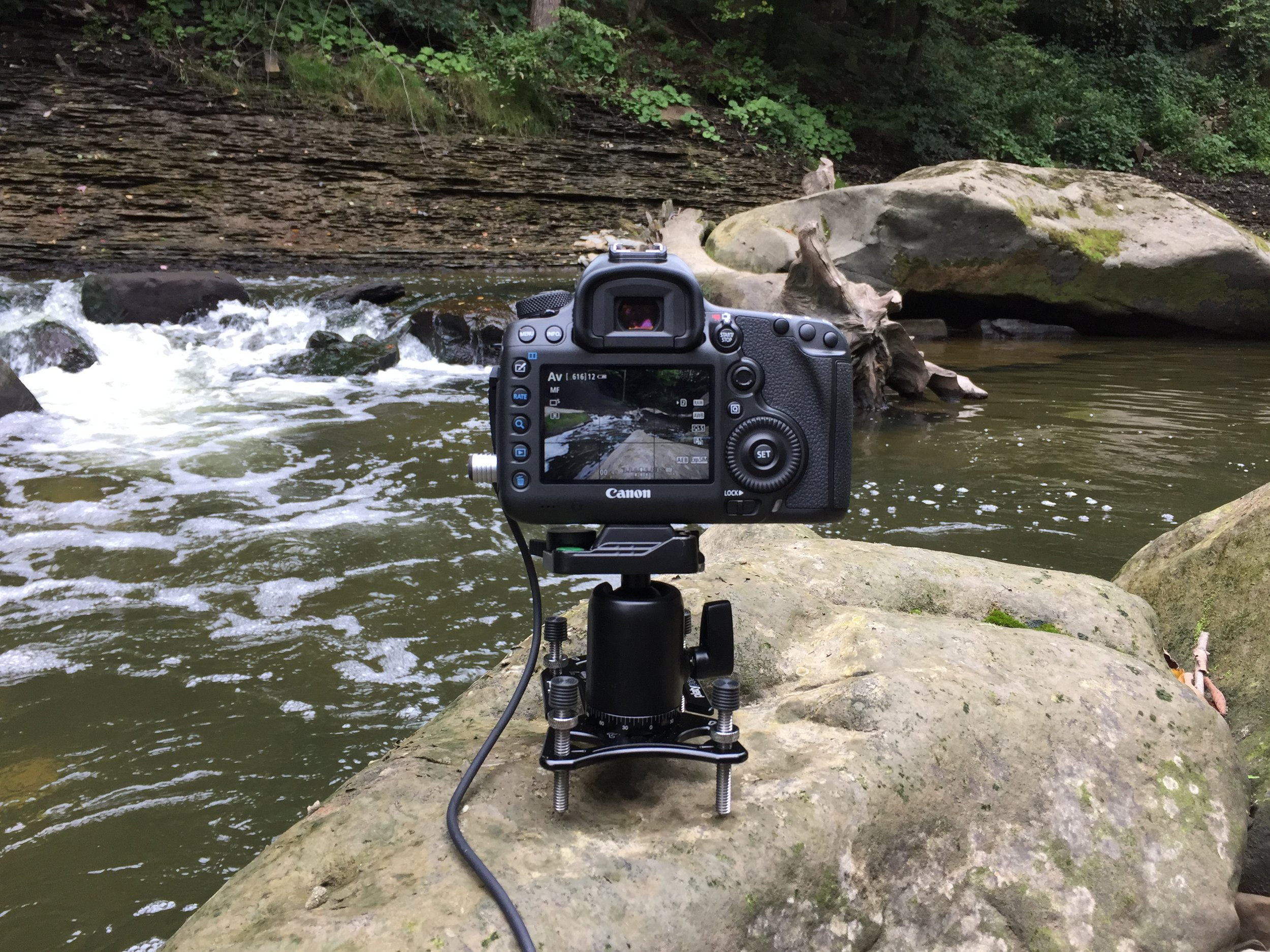 Canon 5DS R mounted on a Platypod Ultra with an Oben BA-113T ball head.