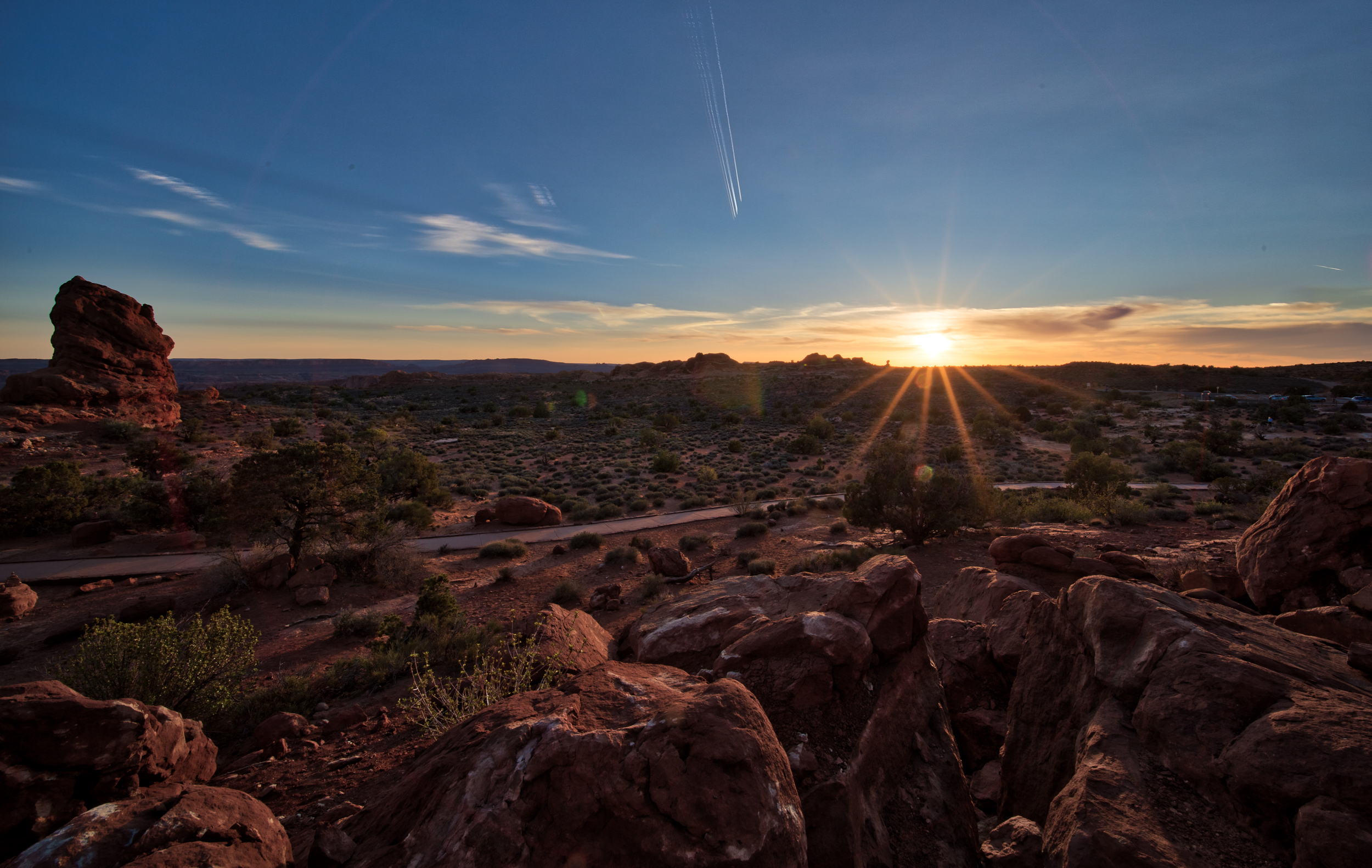 Sunset at Arches National Park. Standing under Balanced Rock