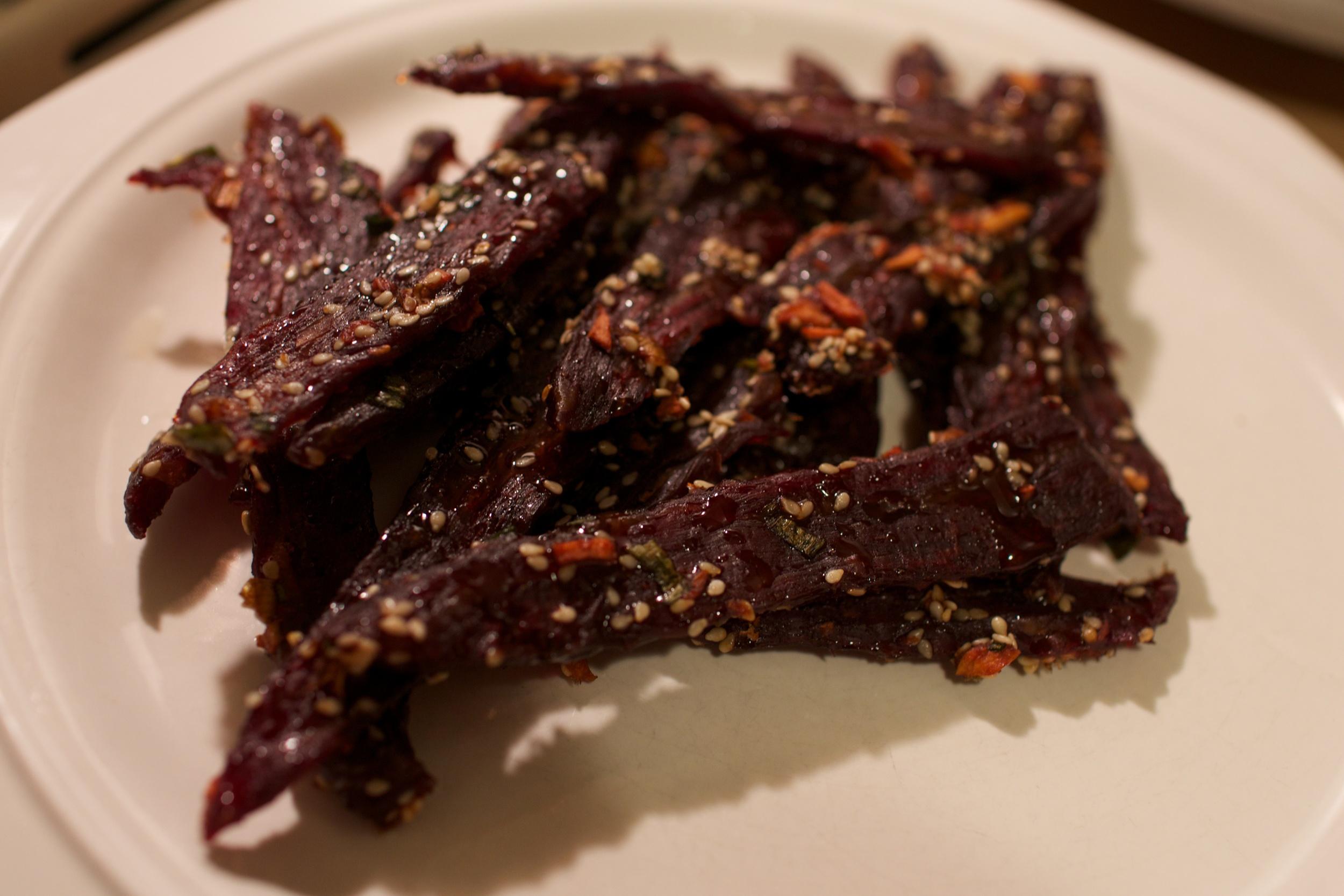 The final product! Korean Bulgogi Beef Jerky!