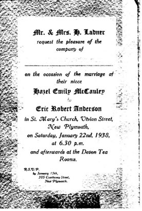 Wedding Invitation of Eric Robert Anderson and Hazel Emily McCauley