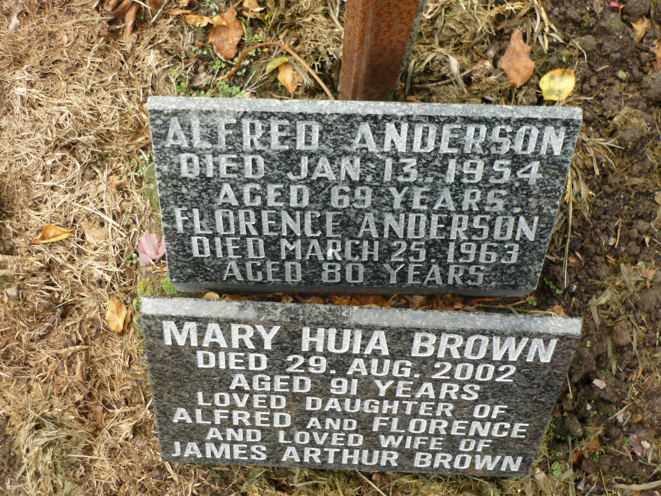 Memorials to Alfred and Florence Anderson with Mary Huia Brown (nee Anderson)