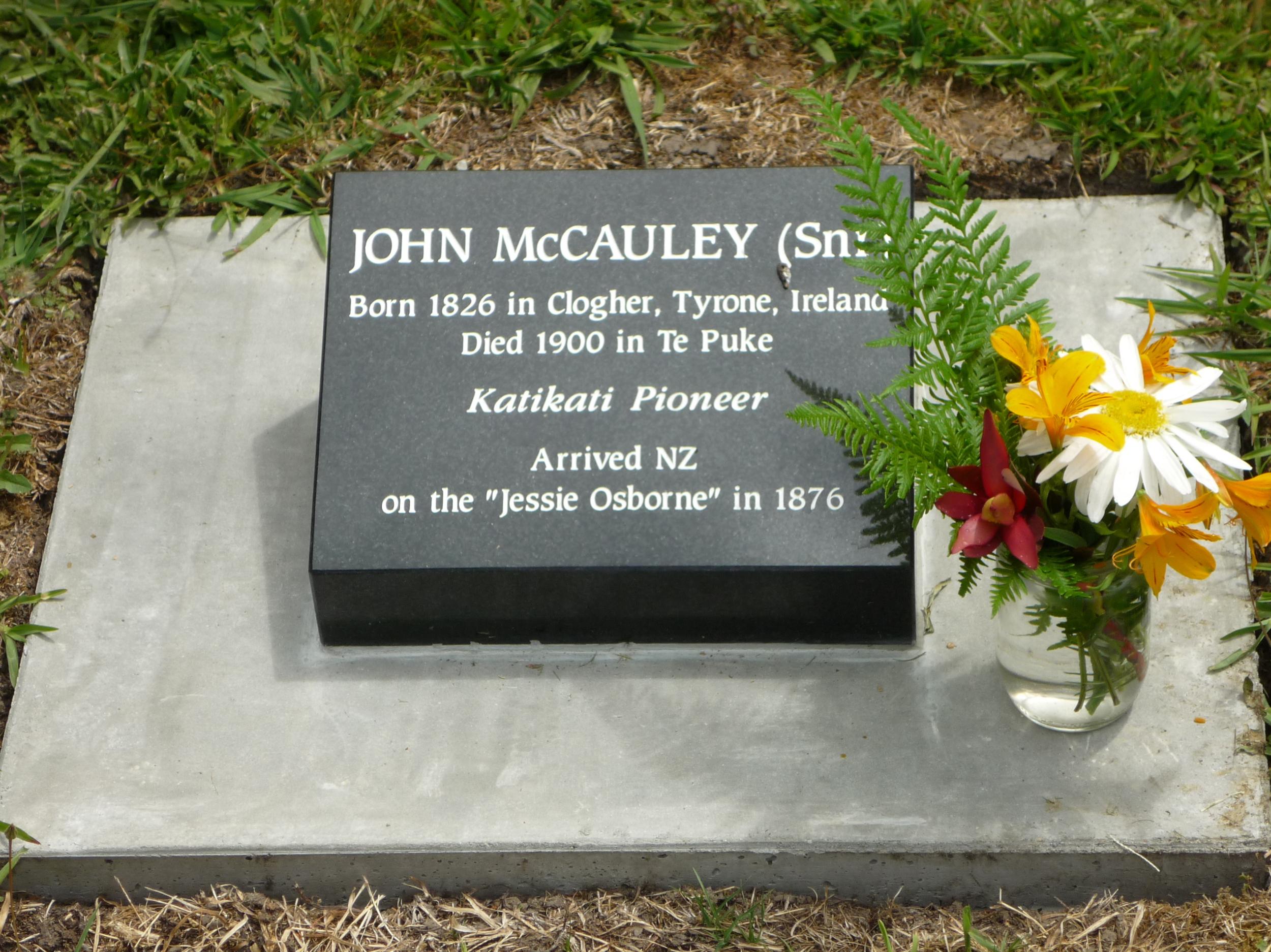 Grave of John Snr. McCauley