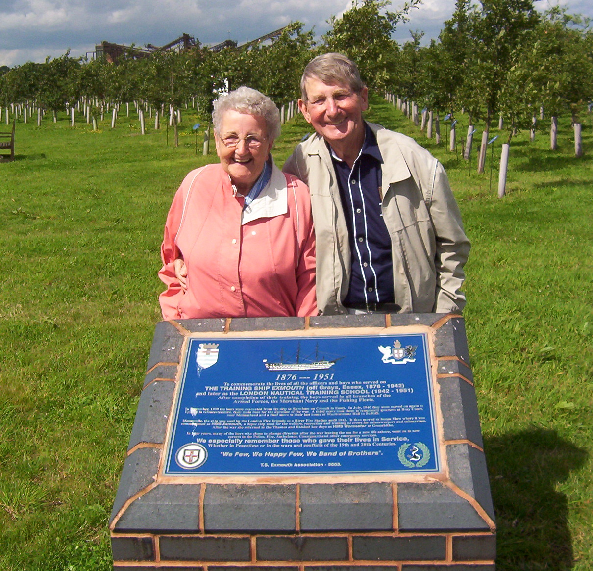 Margaret Cameron and Leslie William Anderson at the  Exmouth  memorial at the National Memorial Arboretum, Alrewas, Staffordshire