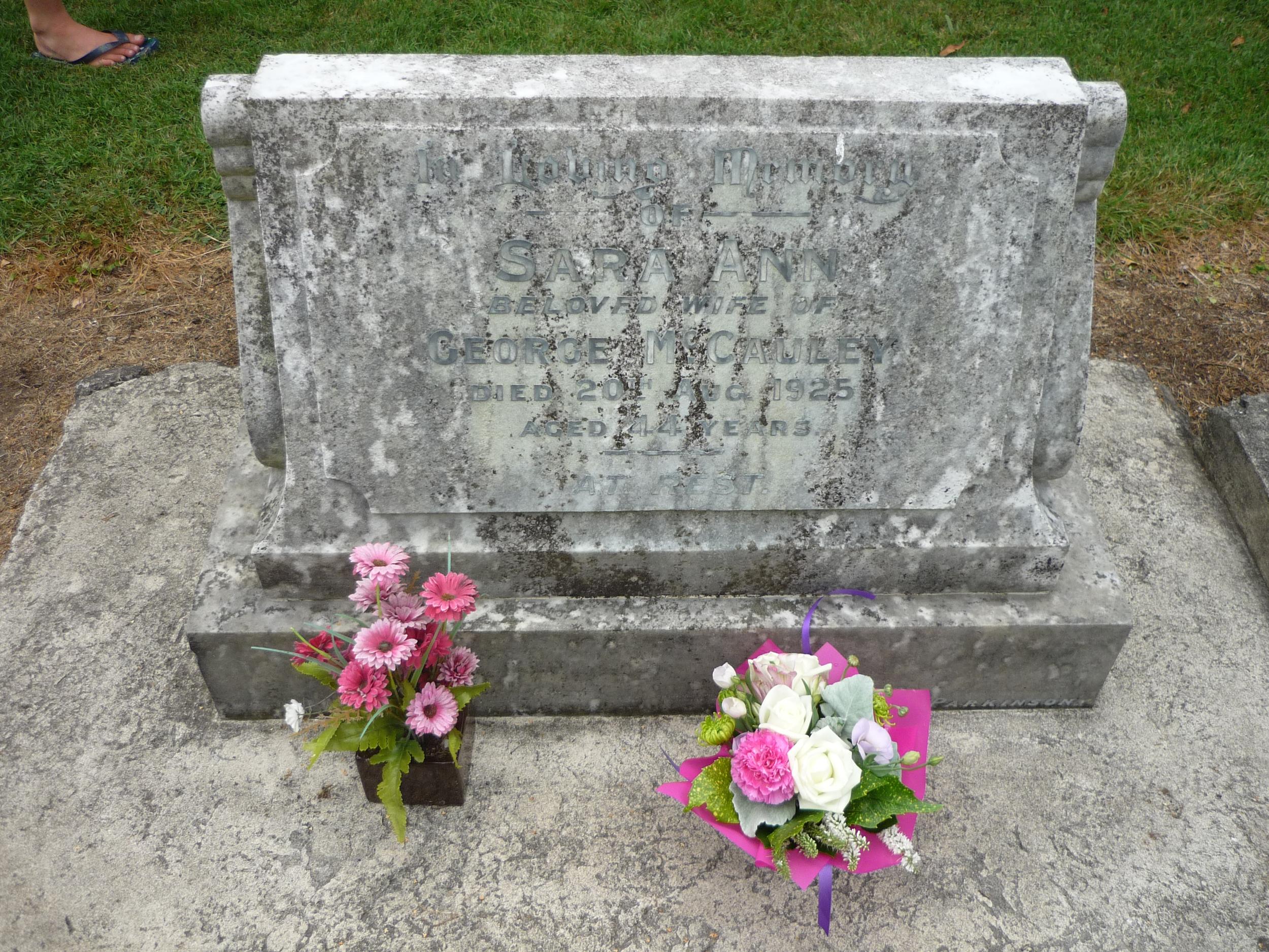 Grave of Sara(h) Ann McCauley (nee Ford)