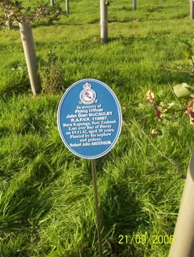 Plaque in Memory of John Glen McCauley