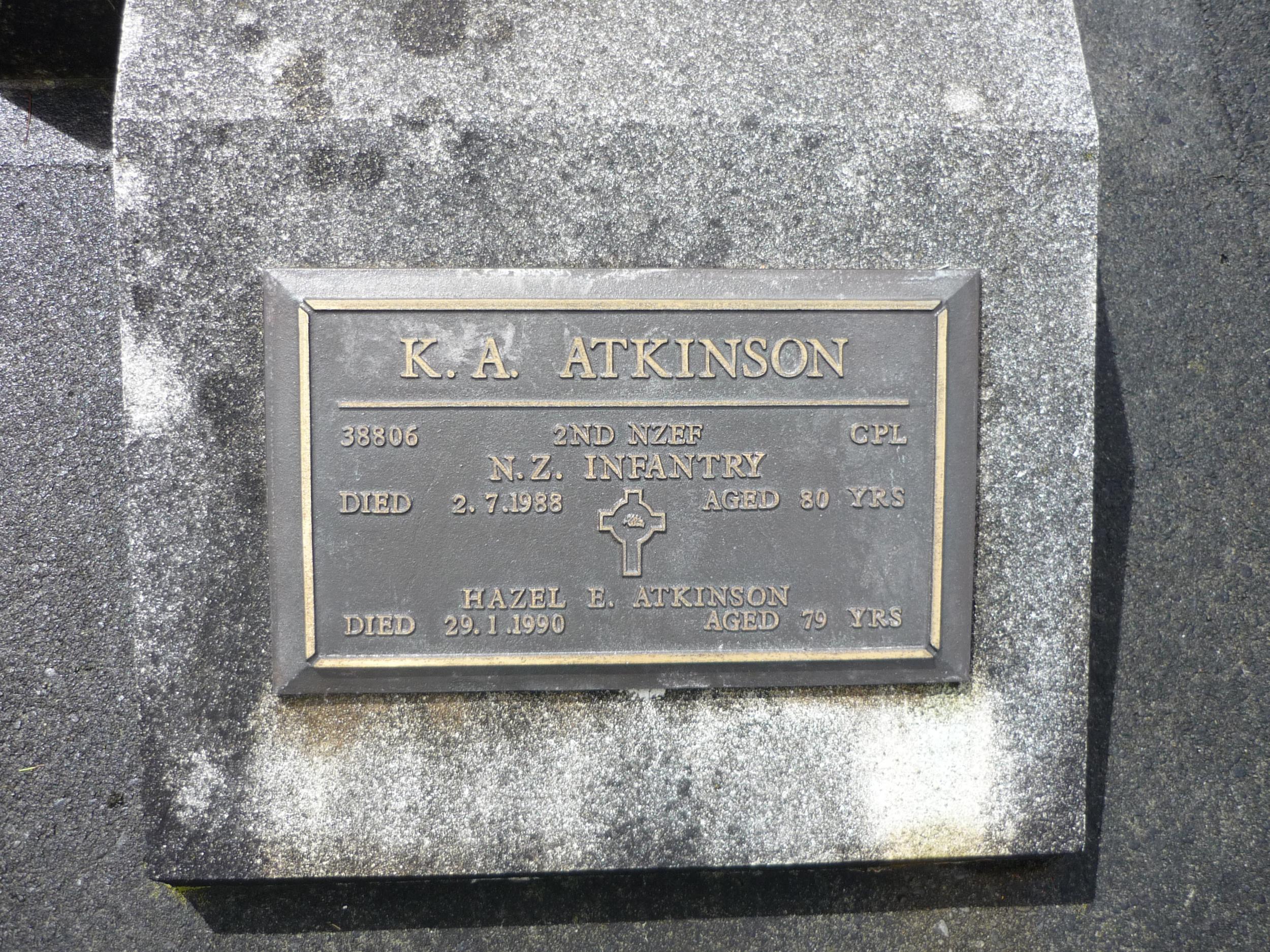 Memorials to Keith Armstrong Atkinson and Hazel Emily Atkinson (nee McCauley/ Anderson)