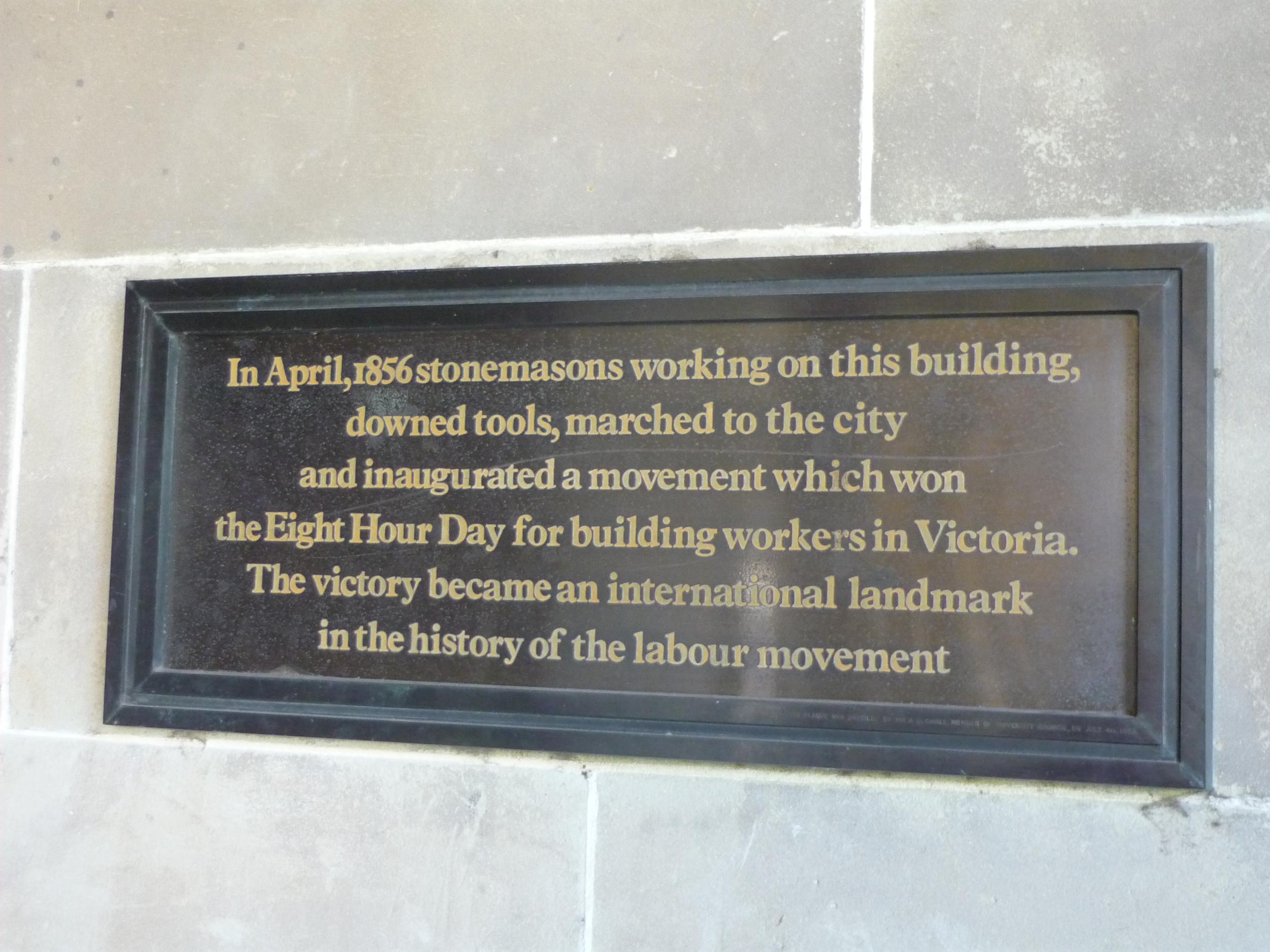 Stone Masons March Commemorative Plaque, Melbourne University